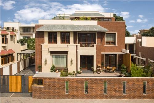 Home elevation with brick facade