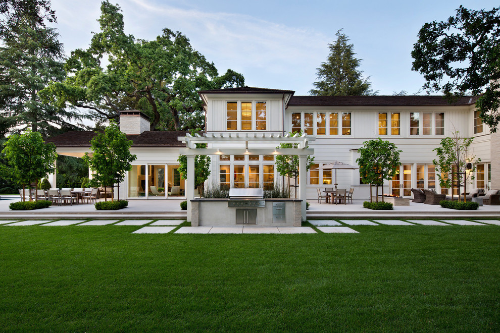 Transitional white two-story exterior home photo in San Francisco