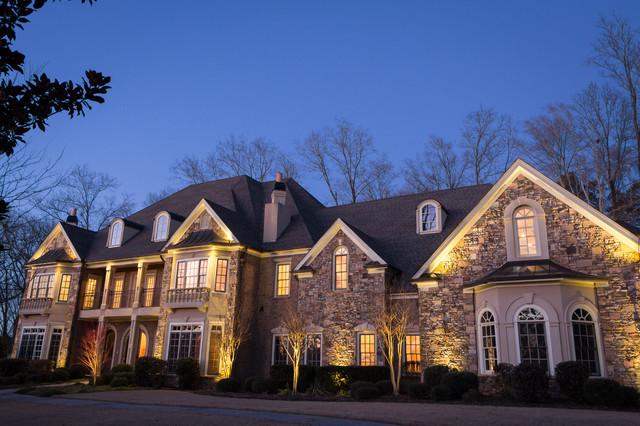 Alpharetta, GA House and Backyard Lighting Project rustic-exterior