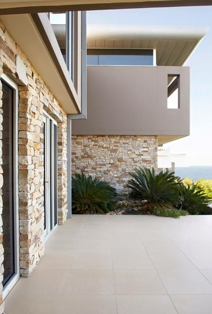 Modern Exterior Wall Cladding : Alpine dry stone wall cladding