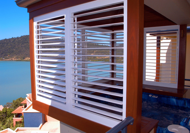 Aluminum Shutters Inspiration Tropical Exterior Dallas by
