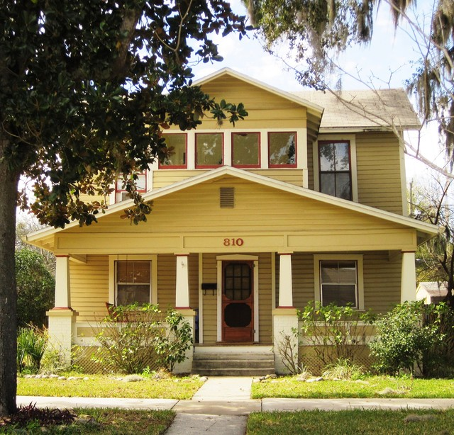 American Four Square Frame House 1930s Exterior Orlando By Classical Home Design Inc By