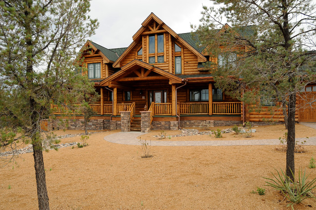 American ranch log home traditional exterior phoenix for Ranch log homes