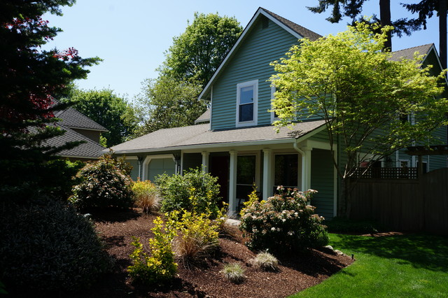 An occupied home staging transitional exterior for Redesign your home exterior