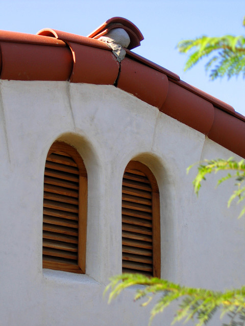 Arch Top Spanish Style Wood Vents In Gable Roof