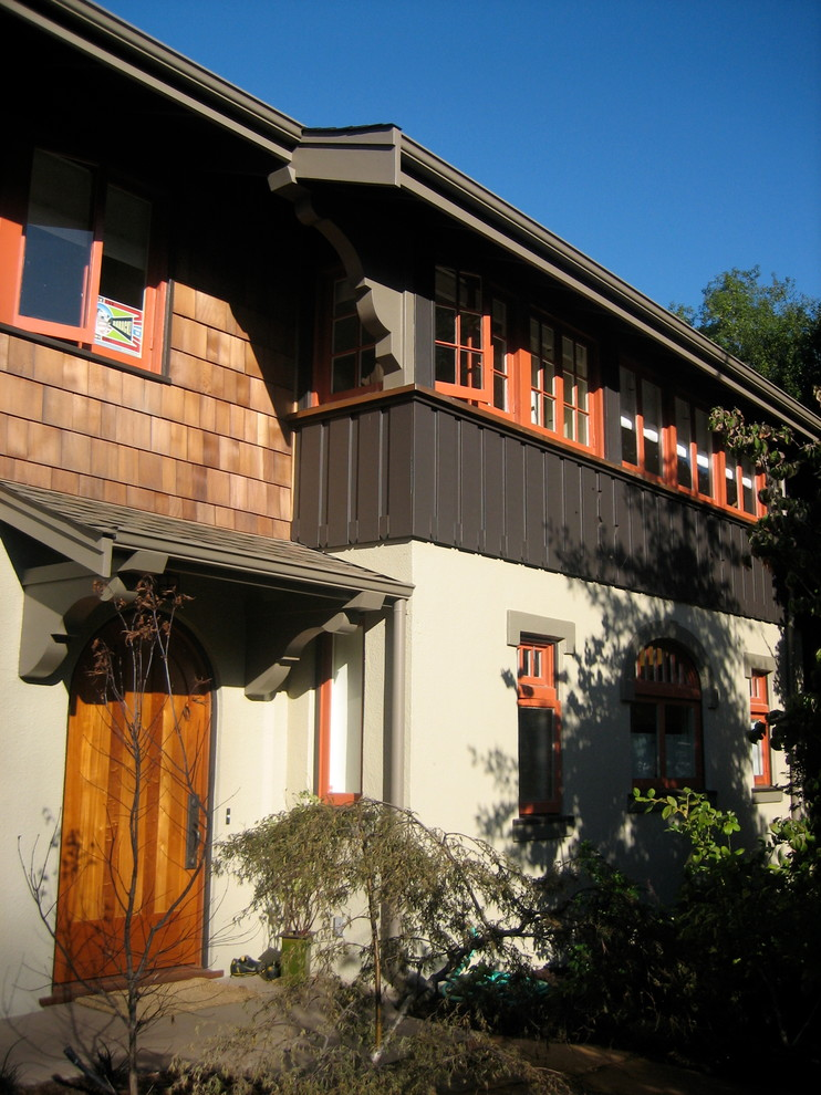 Large arts and crafts brown two-story mixed siding exterior home photo in San Francisco