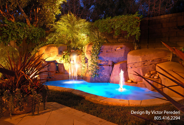 Remodel Includeed An Artificial Rock Waterslide With A Walk In Cave Grotto Speakers