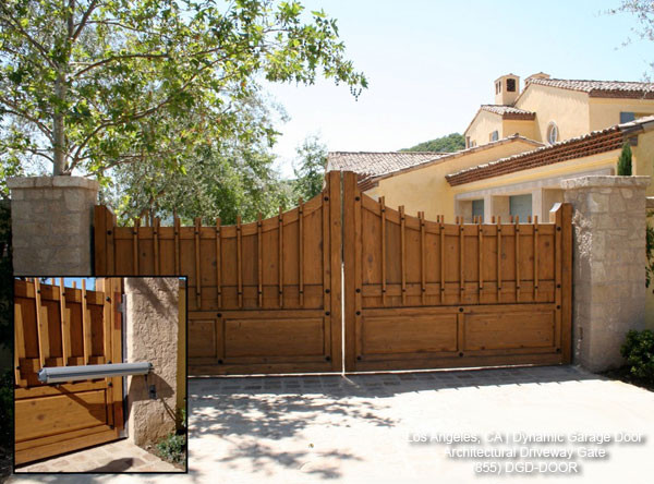 Automatic Custom Architectural Wood Driveway Gate Mediterranean Exterior Los Angeles By