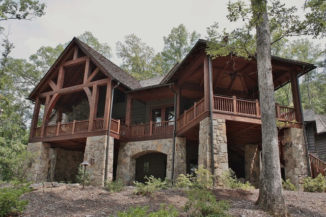 Azalea ridge rustic exterior other metro by wright for Cool lake house plans
