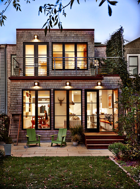 Back facade with white cedar shingles contemporary for San francisco modern homes