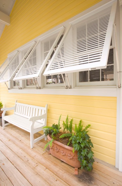Bahama impact storm decorative shutters tropical exterior chicago by roll a way storm for Roll up window shutters exterior