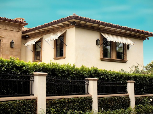 Ball Tip Awnings Mediterranean Exterior Los Angeles