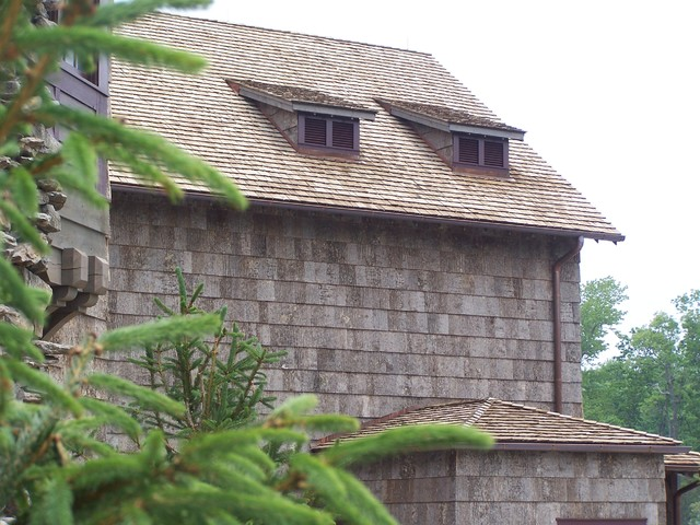 Bark clad style traditional exterior for Bark house siding