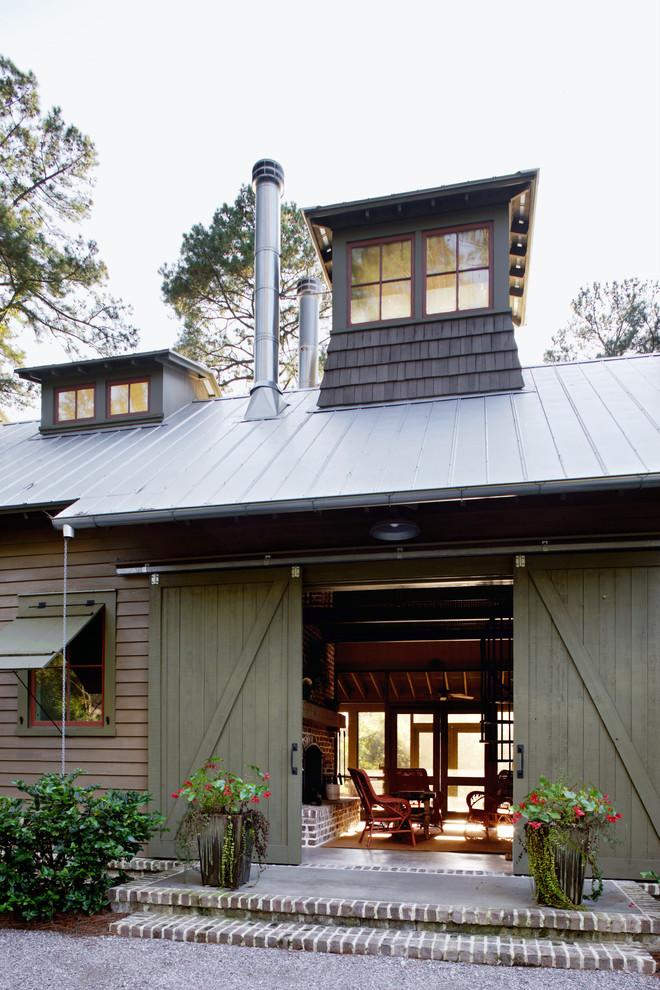 Mountain style wood exterior home photo in Atlanta