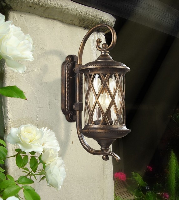 Barrington Gate Hazelnut Bronze Outdoor Wall Lantern With Designer Water  Glass Mediterranean Exterior