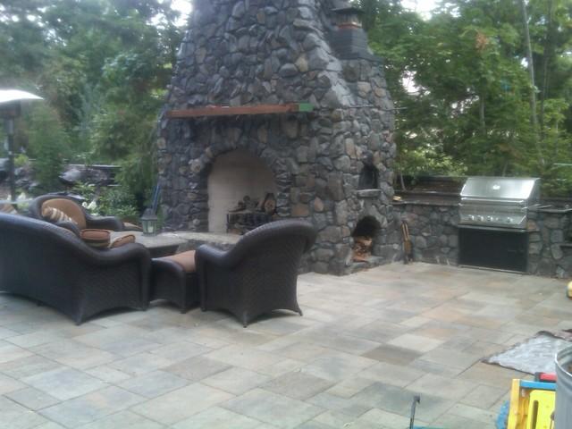 Backyard Hill Makeover : Basalt FireplacePizza Oven  South Hill Backyard Makeover  Exterior