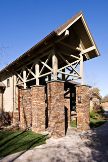 Bay Area Large Pergola Entry With Brick Columns Metal