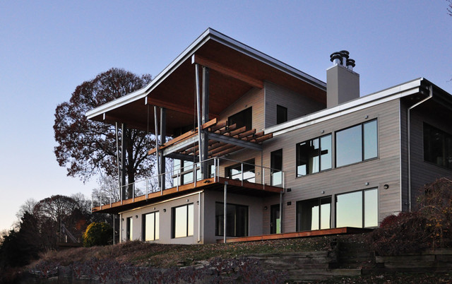 Bay house modern exterior dc metro by gardner mohr for Contemporary roofing materials
