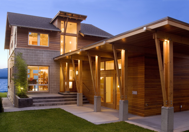 Beach drive residence contemporary exterior seattle for Modern concrete block house plans