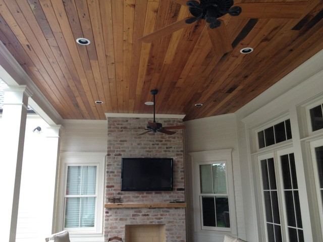 Beautiful Stained TampG Wood Ceiling Traditional