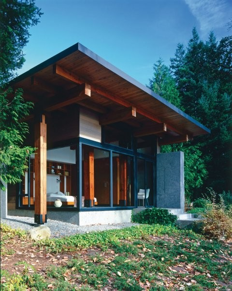Modern Gray Exterior With Steel Beams: Beautiful Western Red Cedar Soffit, Ceiling, Beams And Posts