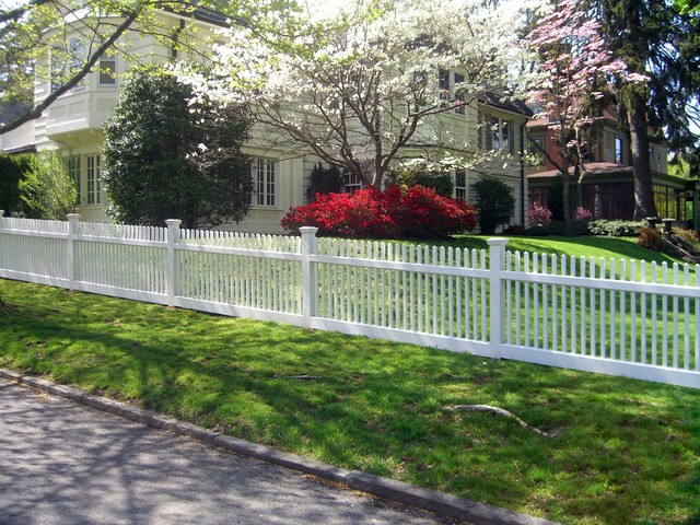Beautiful White Wood Picket Fence Traditional Exterior