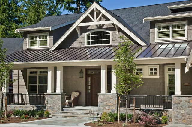 arts and crafts gray two story wood gable roof photo in seattle with a mixed - Craftsman Home Exterior