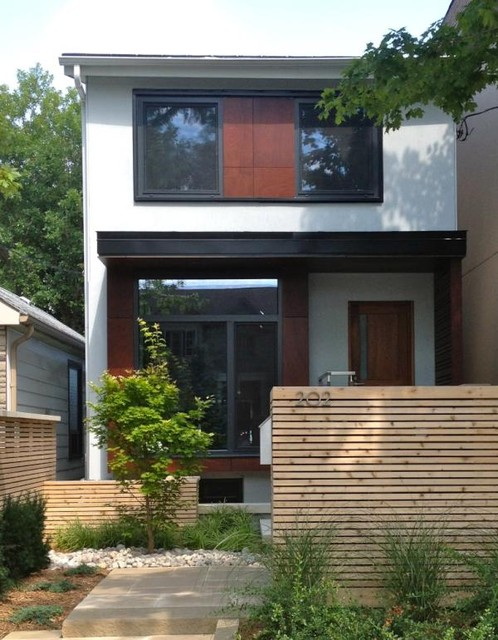 Bedford park front view with passive house windows for Modern house front view