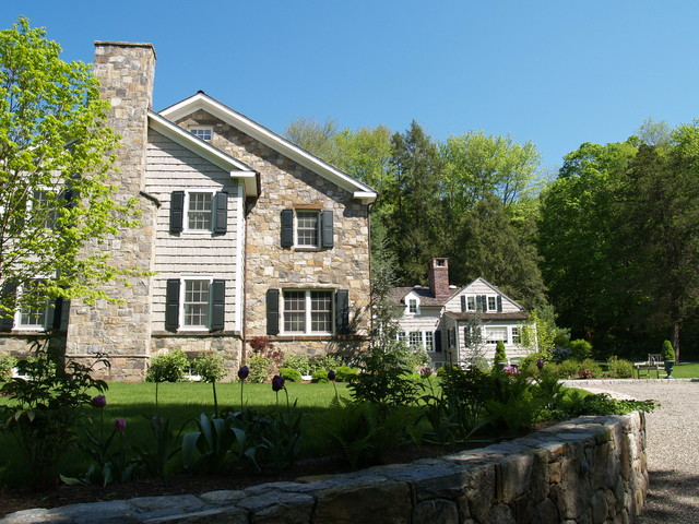 Bedford stone house traditional exterior new york for Garden room joseph smith building