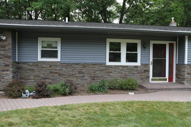 custom trim aluminum vinyl siding and stonework traditional exterior. Black Bedroom Furniture Sets. Home Design Ideas