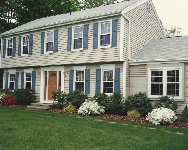 Beige Shingle Style Siding Blue Shutters Connecticut