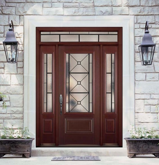 Belleville mahogany textured 1 panel hollister door 3 4 for Belleville fiberglass doors