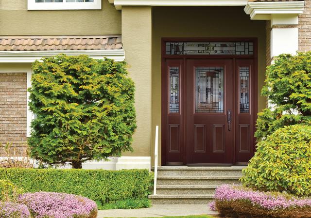 Belleville Mahogany Textured Entry Door Transitional
