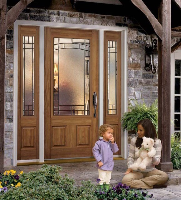 Belleville Oak Textured 2 Panel Door 3/4 Lite With Element Glass  Traditional Exterior