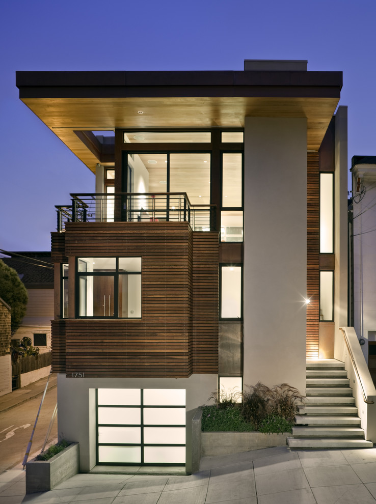 Trendy wood exterior home photo in San Francisco