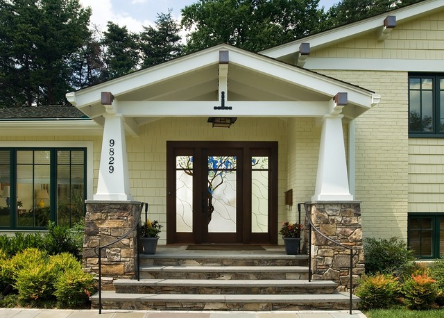 Bethesda split level facelift traditional exterior for Building an entryway addition