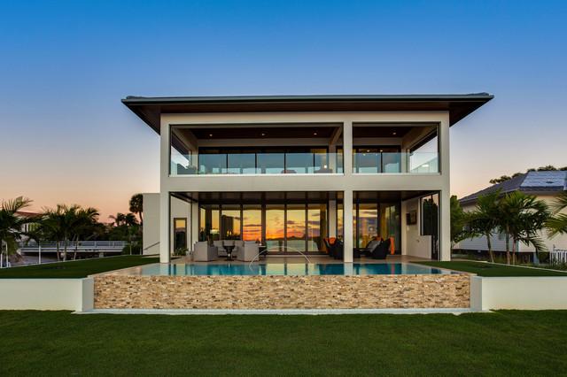 Bird key modern bungalow modern haus fassade tampa for Bungalow haus modern