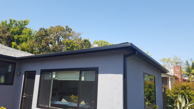 Black Gutters And Downspouts Contemporary Home West Los