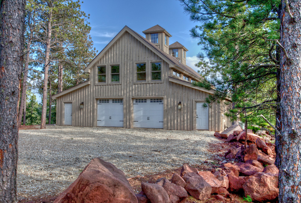 Mountain style wood exterior home photo in Other