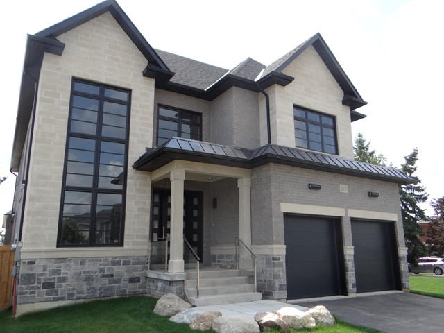 Modern Black House Bright Accents Black Windows New Custom House Transitional Exterior Toronto