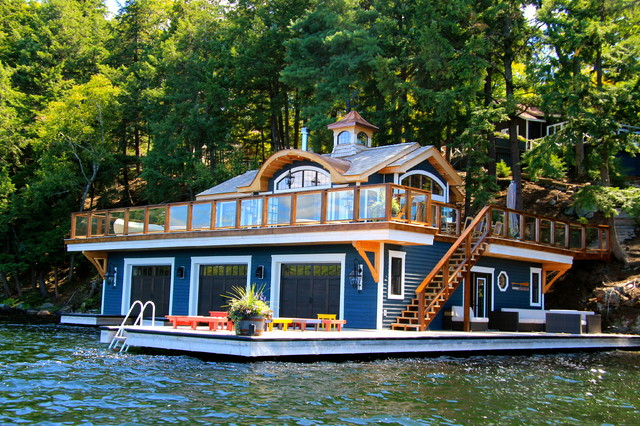 Boathouse port carling ontario canada beach style for Boat house plans pictures