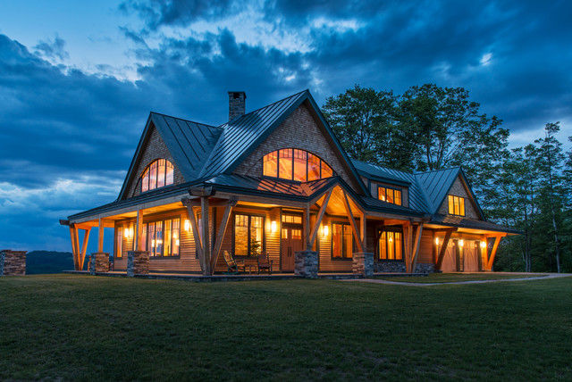 Timber frame vermont farm house rustic exterior for Vermont farmhouse plans