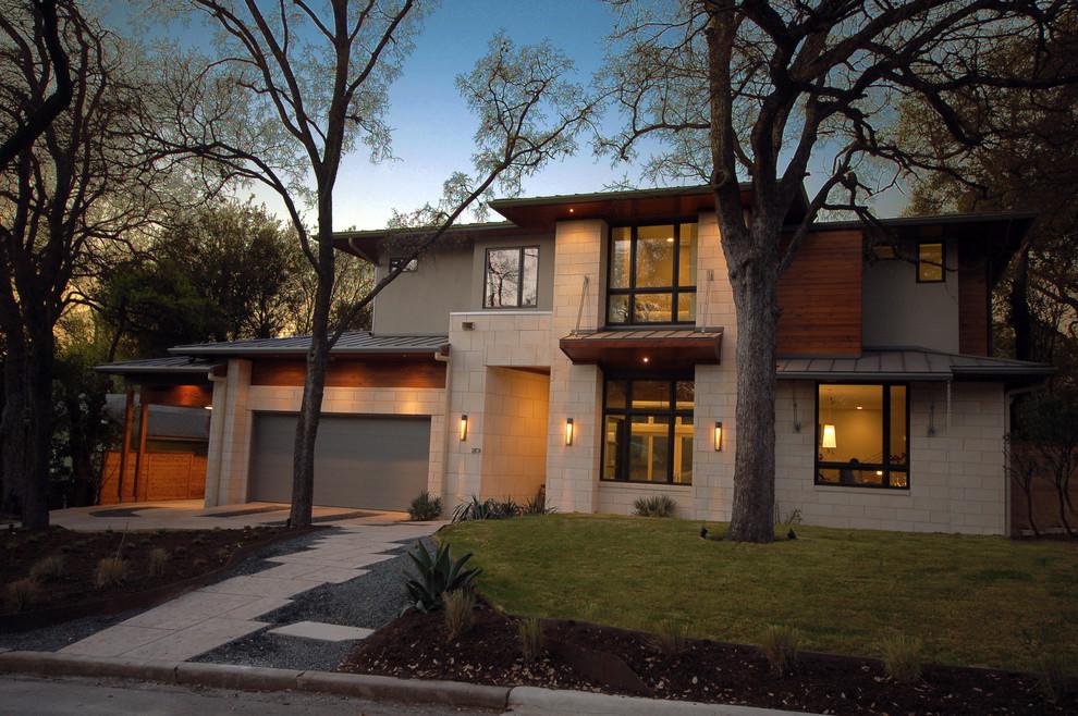 Contemporary wood exterior home idea in Austin