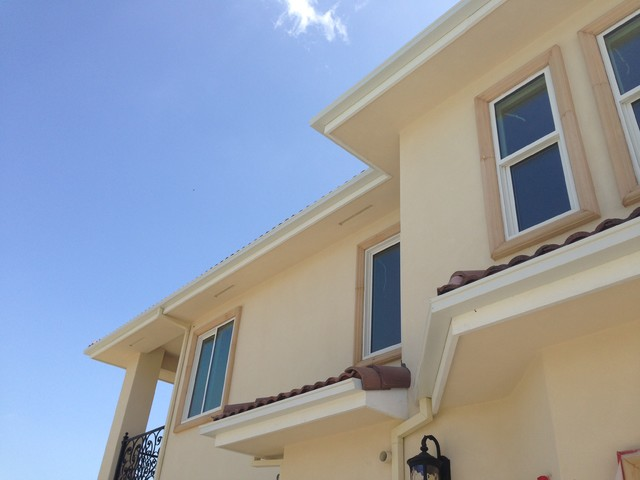Box Gutters On Custom Home With Tile Roof Walnut