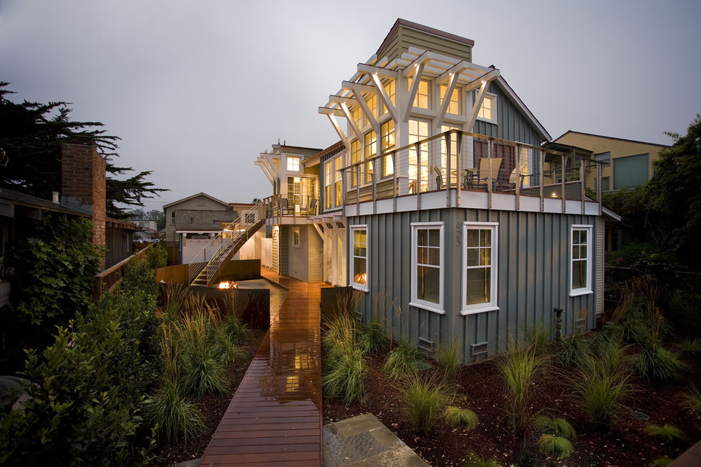 Beach style wood exterior home photo in San Francisco