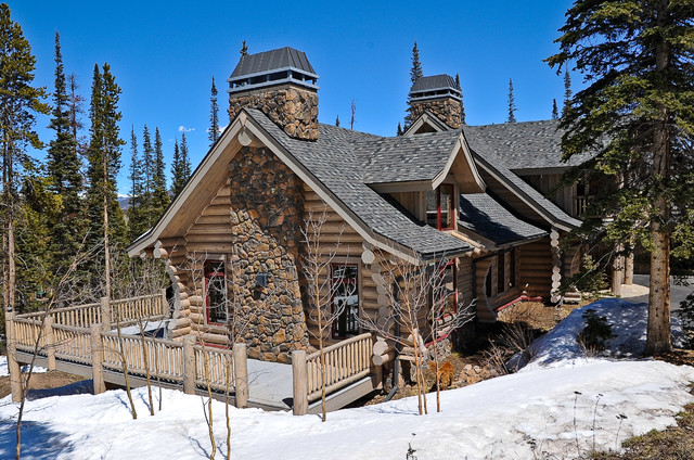 Breckenridge highlands milled log home rustic exterior for Log home pictures exterior