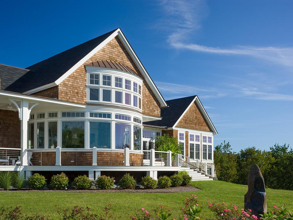 Coastal wood exterior home photo in Providence