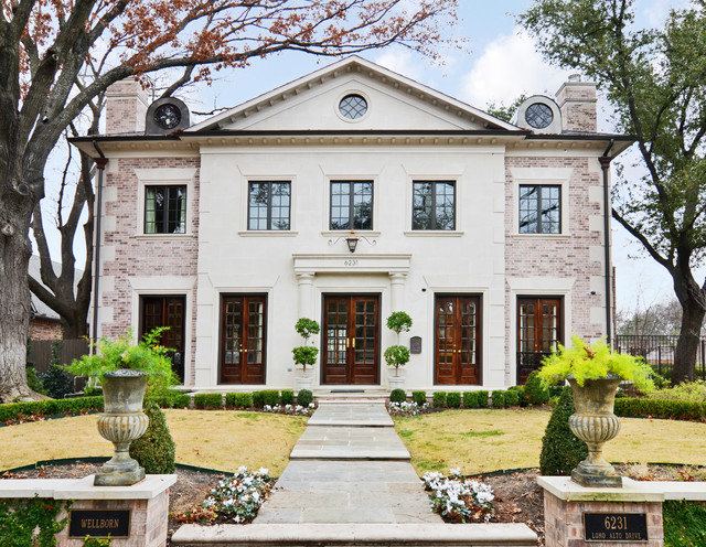 Country House Facade Design Brick Limestone Facade Traditional Exterior Dallas By