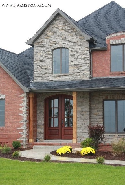 Brick and stone house traditional exterior chicago for Bricks stone design