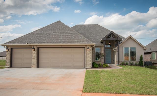 Brick And Stucco Home Transitional Exterior Oklahoma